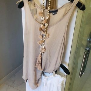 Vince a line cotton tank with silk sheer back